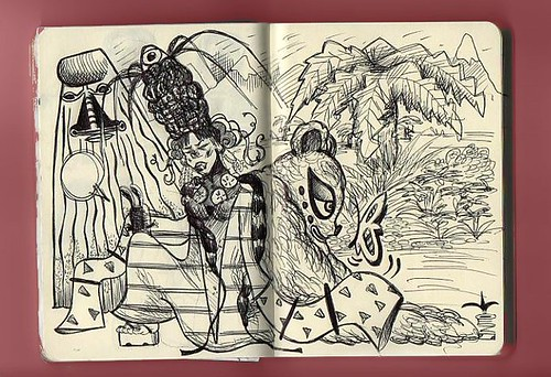 sketchbook stories// MissJapaloo and the rabbit by red ketepo