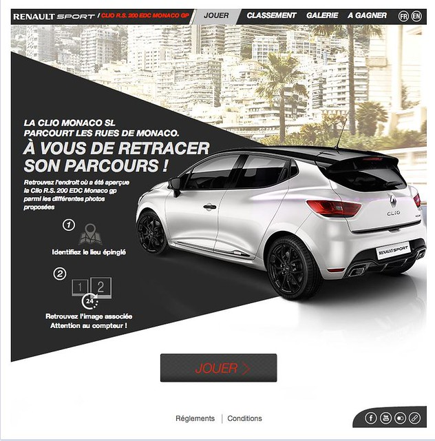 jeu concours facebook clio r s 200 edc monaco gp par renault sport. Black Bedroom Furniture Sets. Home Design Ideas