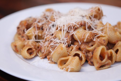 Conchiglie with Cassoulet Ragout and Pargmigiano-Reggiano
