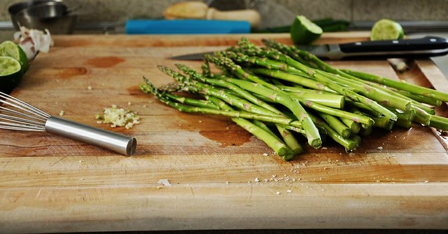 Roasted Asparagus with Sweet Jalapeño Vinaigrette and Garlicky Breadcrumbs