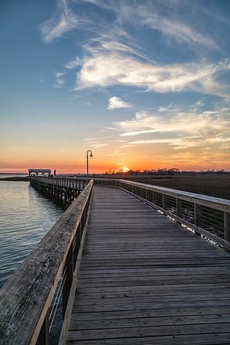 charleston clouds shemcreek southcarolina boardwalk park sunset water mountpleasant unitedstates us