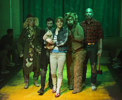 Sun, 2017-03-19 21:02 - L to R: Christine Mayland Perkins as Scarecrow, Joey Steakley as Toto, Kara Davidson as Dorothy, Michael E Smith as Cowardly Lion, Jeremy Sonkin as Tin Woodsman