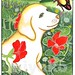 Labrador with butterfly and capucines