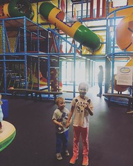 Tried out the new play place at @milestonechurch and both littles gave it a thumbs up! 👍 #aboynamedfox #misspaisleygrace #milestonechurch
