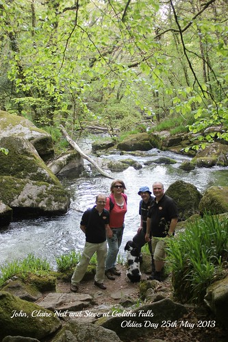 Finish! Golitha Falls - John, Claire, Neil and Steve by Stocker Images
