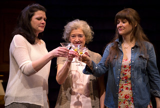 Kate Shindle, Nancy E. Carroll, and Shannon Esper in RAPTURE, BLISTER, BURN at the Huntington. Photo: T. Charles Erickson