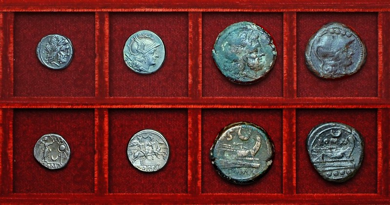 RRC 057 crescent, victoriatus, denarius, semis, triens, Ahala collection, coins of the Roman Republic