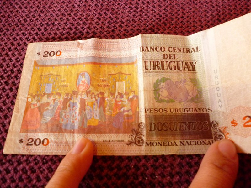 I love the painting on this Uruguay 200 pesos.