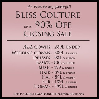 Bliss Couture Closing Sale Ad