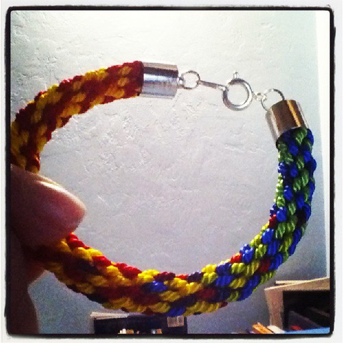 I actually finished a kumihimo bracelet!