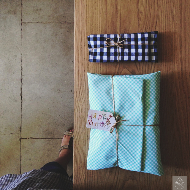fabric wrapped presents