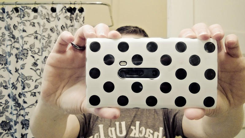 my new polka-dotty Nokia Lumia 920 case from Best Buy