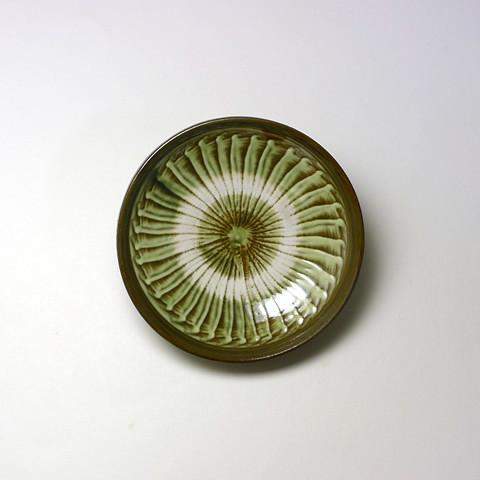 小鹿田焼「4寸切立皿/打ち刷毛目・緑」