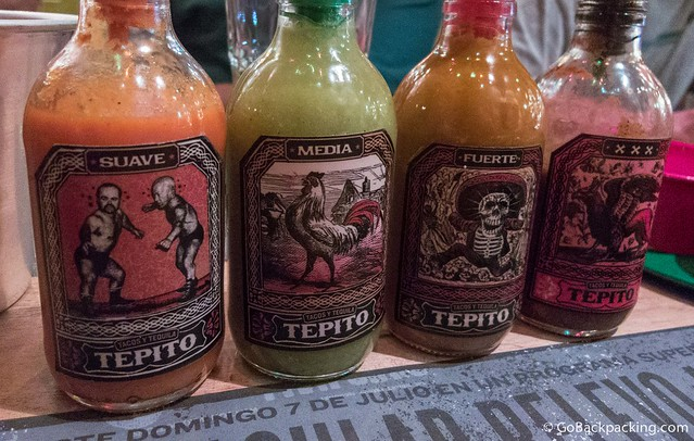 Four varieties of salsa, from mild (left) to, medium, strong, and mouth-on-fire triple-x hot