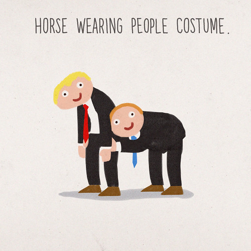Horse Wearing People Costume.