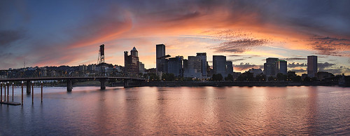 city travel blue sunset sky urban panorama orange usa color reflection tourism water yellow skyline clouds oregon marina portland evening downtown cityscape view unitedstates dusk scenic structure hawthornebridge pacificnorthwest northamerica willametteriver eastbankesplanade tommccallwaterfront