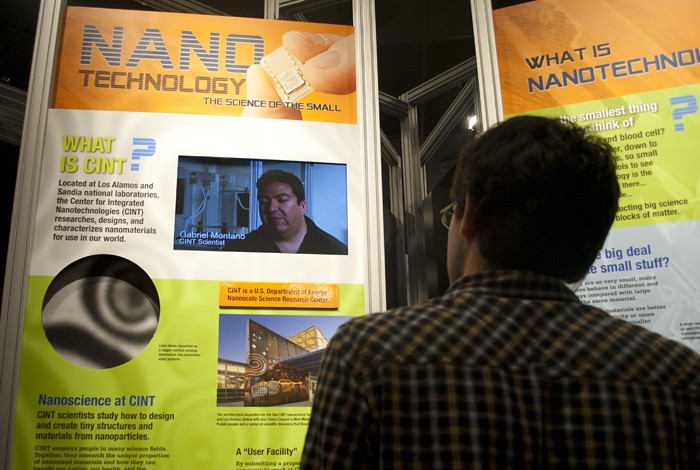 Two new exhibits recently opened at the Lab's Bradbury Science Museum on algae biofuels and nanotechnology