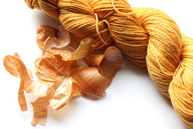 Yarn dyed with onion skins