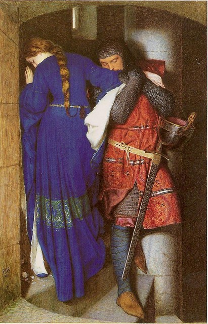 Frederic WilliamBurton, Hellelil and Hildebrand the Meeting on the Turret Stairs, 1864