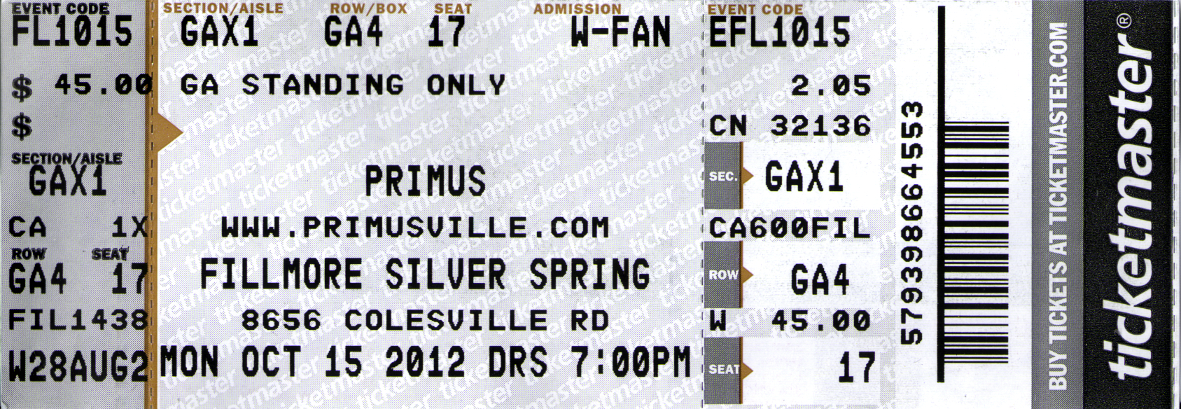 20121015 - Primus at The Fillmore - ticket stub