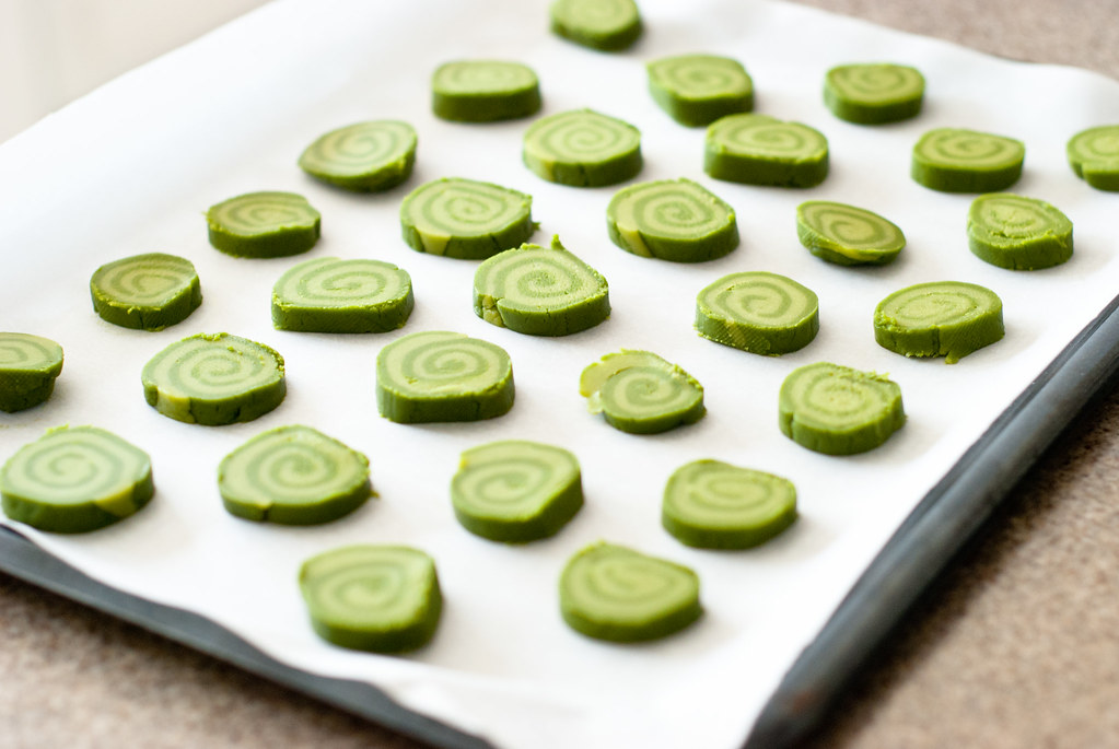 Matcha cookies, sliced before baking.