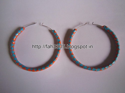 Handmade Jewelry - Paper Hoop Earrings  (9) by fah2305