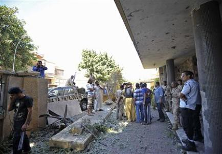 Damage from a car bomb explosion at the Swedish embassy in Benghazi, Libya on October 11, 2013. There was an attempted coup earlier in the week. by Pan-African News Wire File Photos