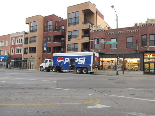 A morning delivery of Pepsi Cola soft drink products in Chicago's Logan Square neighborhood. Late October 2013. by Eddie from Chicago