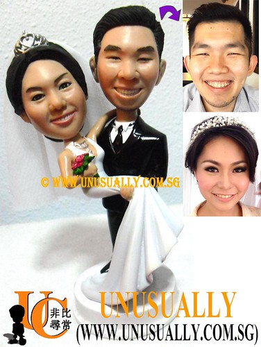 Custom 3D Sweet Lovely Wedding Couple Figurines - @www.unusually.com.sg