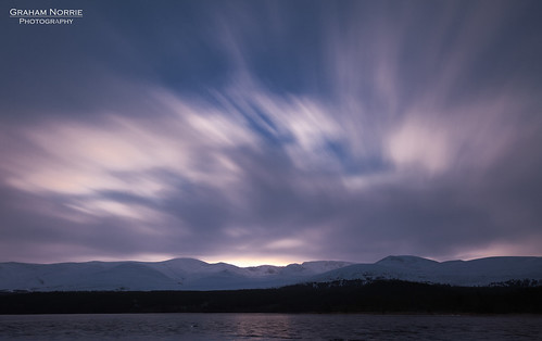 uk blue sunset orange cloud mountain lake snow reflection tree water forest sunrise canon lens landscape scotland long exposure flickr outdoor 10 mark tripod hill highland stop ii 5d loch aviemore haida cairngorm speyside 24105 morlich nd3 potd:country=gb