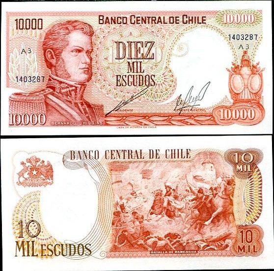 10000 Escudos Čile ND 1970