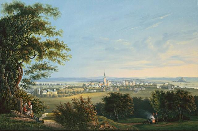Johann Ludwig Bleuler - Blick vom Venusberg auf Bonn und den Rhein (c.1840)