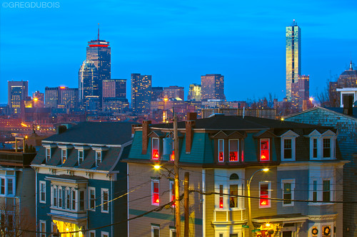 Festive South Boston and Back Bay Skyline at Dusk, Dorchester Heights by Greg DuBois Photography