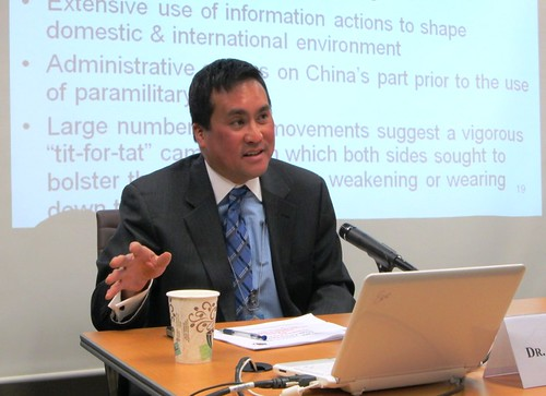 Dr. Christopher Yung explained the methodology and some of the analysis that has come from his year-long project to create a database of the actions taken by countries to assert their claims in the South China Sea.