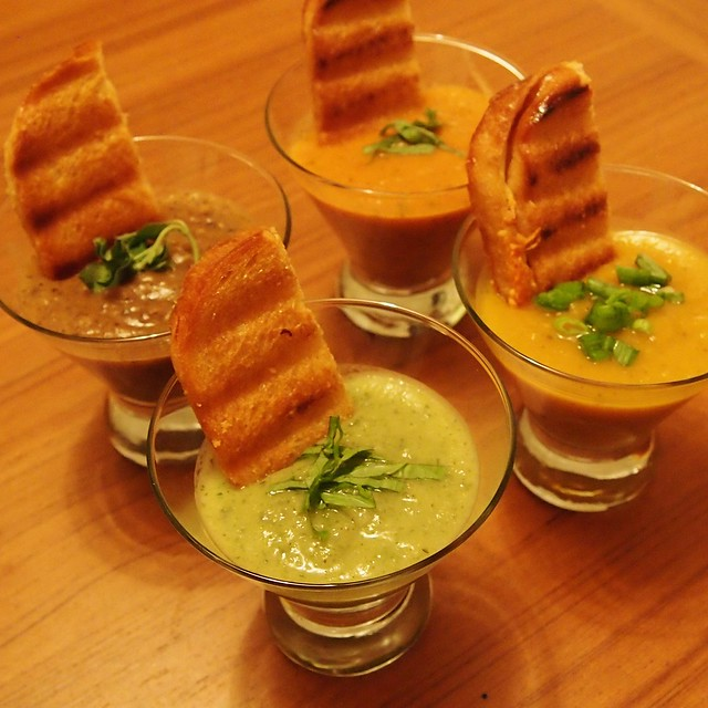 4 smooth soups with grilled cheese! Yum!  http://mostlysoup.blogspot.com/2014/02/quatro-of-smooth-soups-with-grilled.html