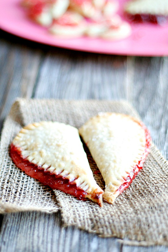 Strawberry mini {heart} pies