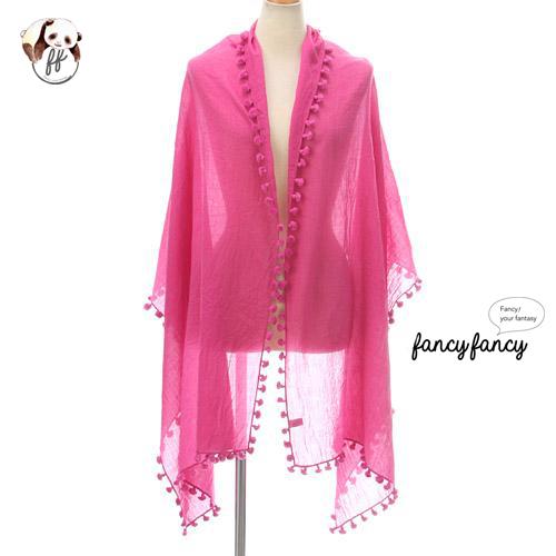 07.春意盎然流蘇球球圍巾(披肩)-粉紅色1