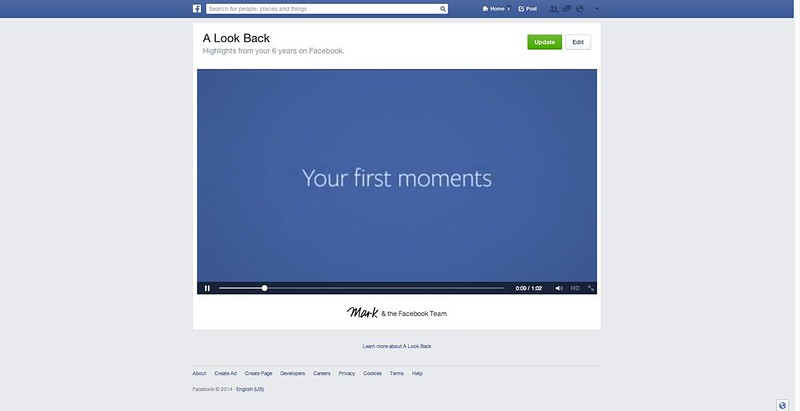 Facebook A Look Back Video - Edit Step 1