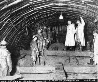 Men in north trunk sewer siphon tunnel, 1913