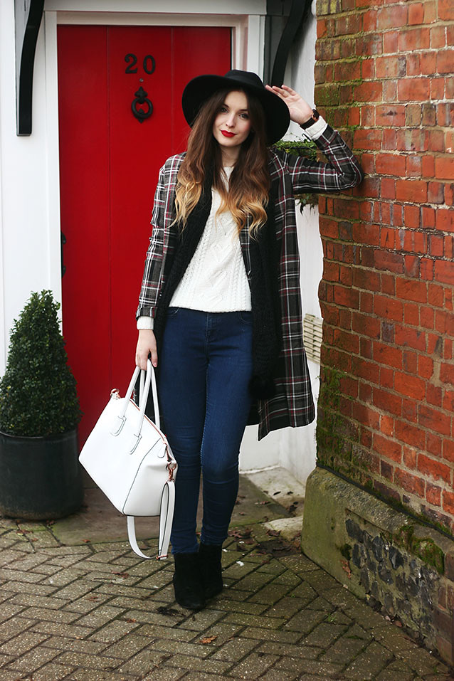 Check Coat Tartan Trend Outfit Fedora Hat
