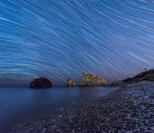 Star trails at Aphrodites rock