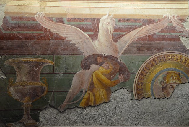 Fresco depicting a griffin attacking one of the Arimaspi (legendary Scythian), from the Villa of the Mysteries in Pompeii, 1st century BC, Monsters. Fantastic Creatures of Fear and Myth Exhibition, Palazzo Massimo alle Terme, Rome