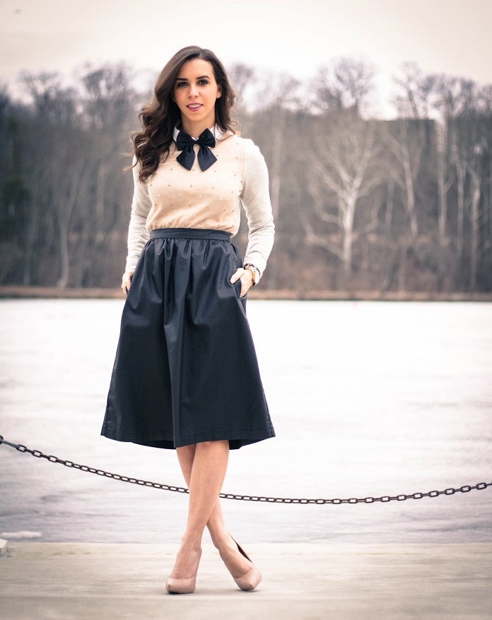 va darling. dc blogger. virginia personal style blogger. faux leather midi skirt. beaded sweater. women's bow tie. nude pumps. 3