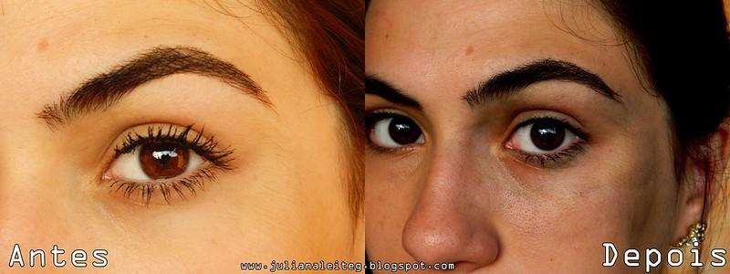 Antes e depois de usar o demaquilante bifasico make B