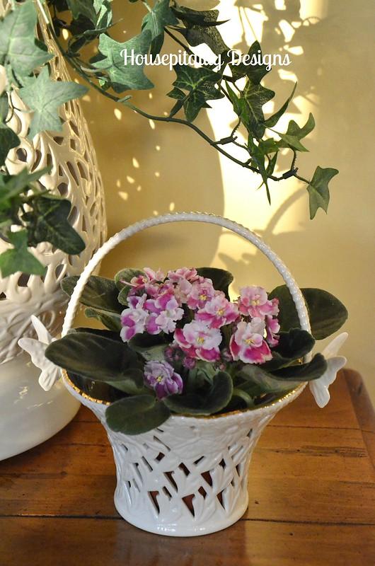 Garden Stool Vase/butterfly basket