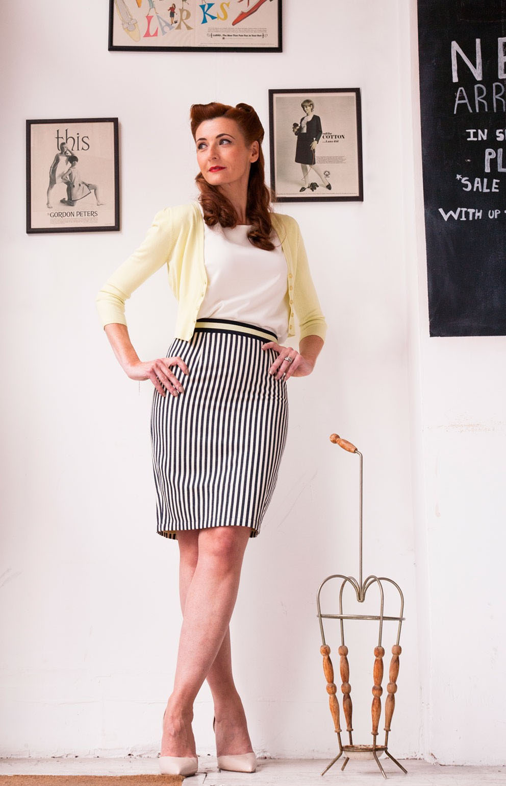 Fever London - Barbican Stripe Pencil Skirt, Mariel Cropped Cardigan Lemonade