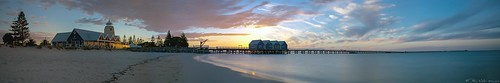 sunset panorama jetty australia wa stitched westernaustralia busselton busseltonjetty stitchedpanorama geographebay
