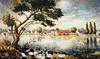 Landschaft an der Sauerländer Brücke (gibt es heute nicht mehr) auf einem Aquarell des Banater Malers Franz Ferch