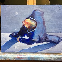 Just finished this small painting of a bellman #aerial #figurativeart #impressionism #interiordesign #artcollector