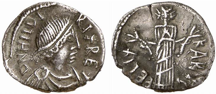 50-Denarius silver coin of Hilderic, King of the Vandals and Alans